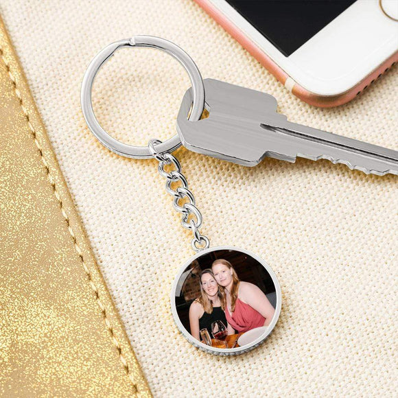Custom Circle Photo Keychain Jewelry