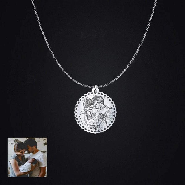 Engraved Silhouette Circle Photo Pendant Necklace, Sterling Silver Jewelry