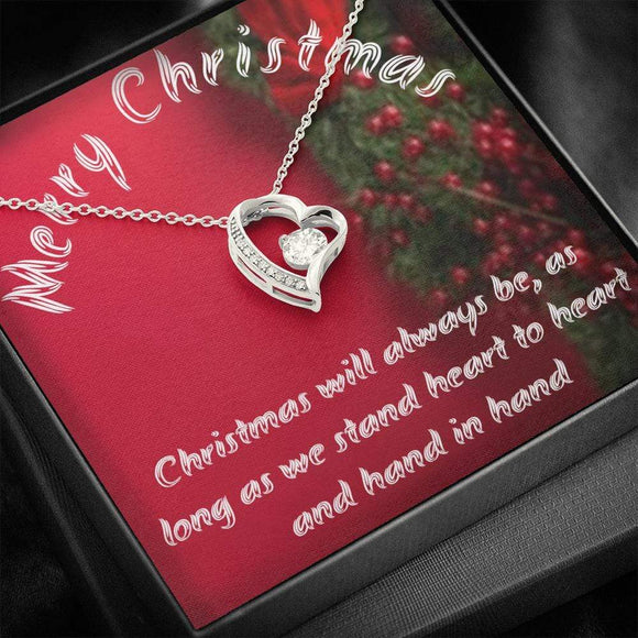 Heart Necklace - Merry Christmas Message card Jewelry