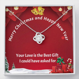 Love Knot Necklace - Merry Christmas Message card Jewelry