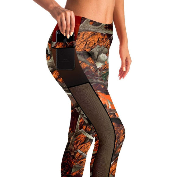 Camouflage Orange Hunting Mesh Leggings