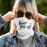 Never Give Up - Gaiter Scarf silver/black glitter