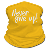 Never Give Up - Gaiter Scarf silver glitter - sun yellow