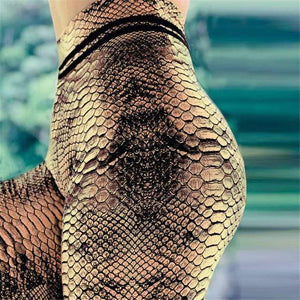 Snake Skin Print High Waisted Yoga Leggings YOGA LEGGINGS