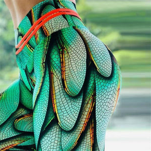 Green Dragonfly Wings High Waisted Yoga Leggings YOGA LEGGINGS
