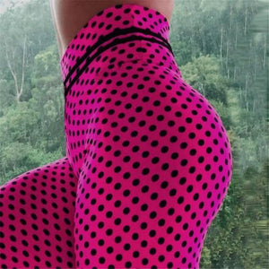 Hot Pink High Waisted Polka Dot Yoga Leggings YOGA LEGGINGS