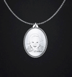 Engraved Baby Photo Pendant Oval pendant