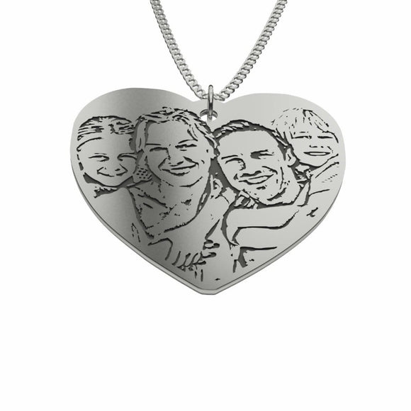 Engraved Silhouette Heart Photo Pendant Necklace, Sterling Silver pendant