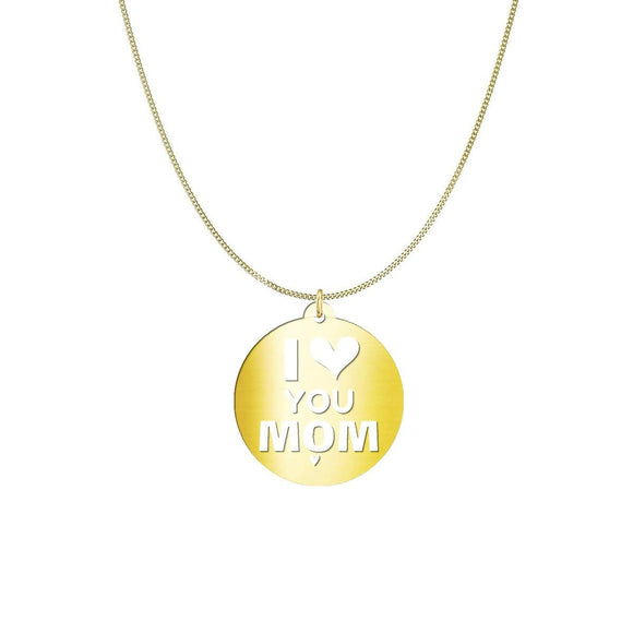 I Love You Mom, Sterling Silver Circle Necklace with custom message card * pendant