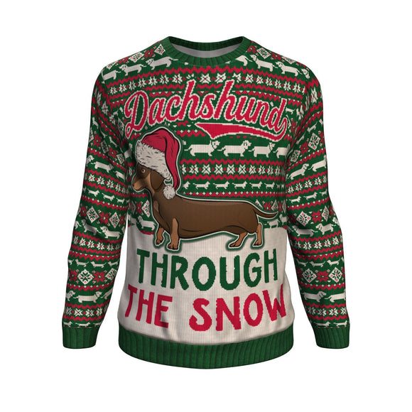 Dachshund Through the Snow Unisex Christmas Sweatshirt Sweater 🐶🐶🐶 Sweatshirt