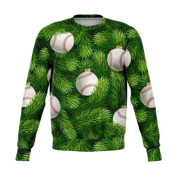 Baseball Christmas Tree Ugly Christmas Sweatshirt - Sweatshirt