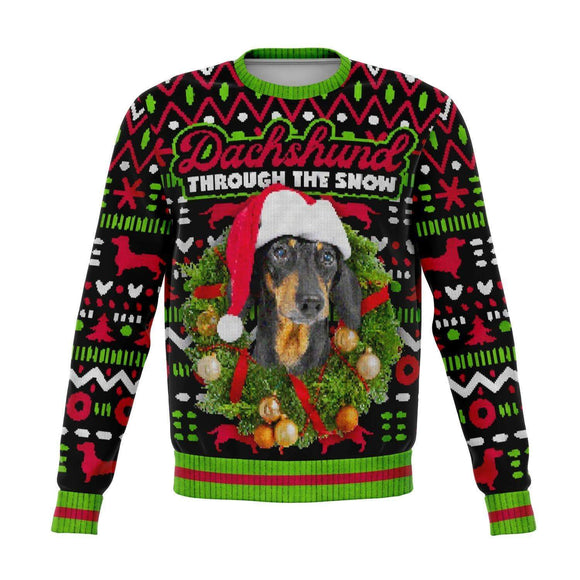 Dachshund Through the Snow Ugly Christmas Sweatshirt Sweatshirts