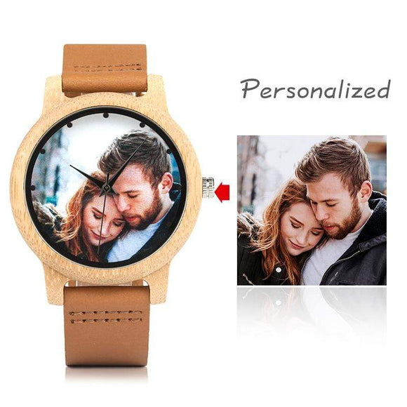 Customization Print Bamboo Watch UV Printing Customers Photos Watch