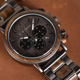 Luxury Wood and Stainless Steel Men's Wooden Watch Chronograph & Quartz Watches