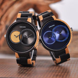 Men's Duel Time Zone Display Wooden Watch Watches