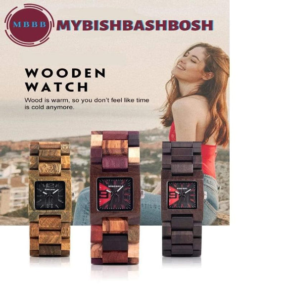 Women's Square Faced  Wooden Watch Watch
