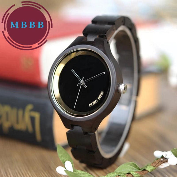 Women's Wooden Watch with Gold Trim Watch