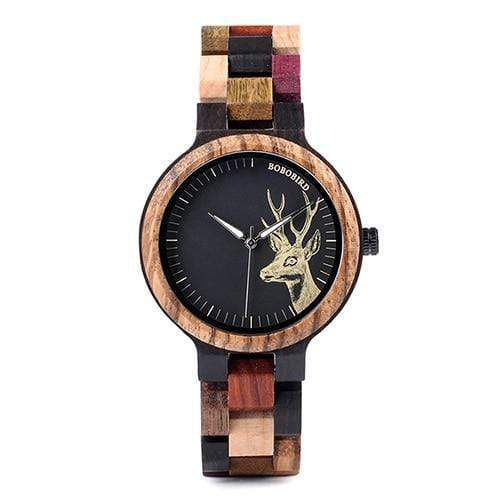 Elk Engraved Women/Men Wooden Watch Watch