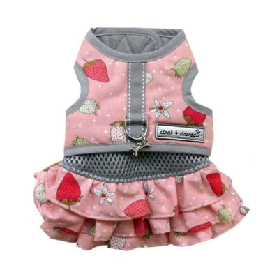 2-Piece Pink Strawberry Harness Vest Dress clothes for small dogs, cute dog apparel, cute dog clothes, cute dog dresses, dog apparel