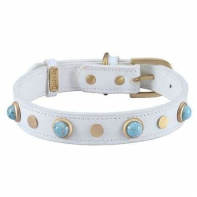 Boho Turquoise Glass Genuine Leather White Dog Collar bling dog collars, cute dog collar, dog collars, fun dog collars, leather dog collars
