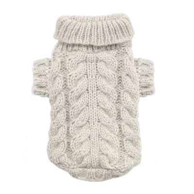 - Angora Cable Knit Dog Sweater Cream Hip Doggie New Arrival