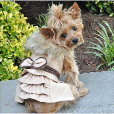 - Camel Wool Fur-Trimmed Dog Coat Harness And Matching Leash New Arrival Sale Winter Coats