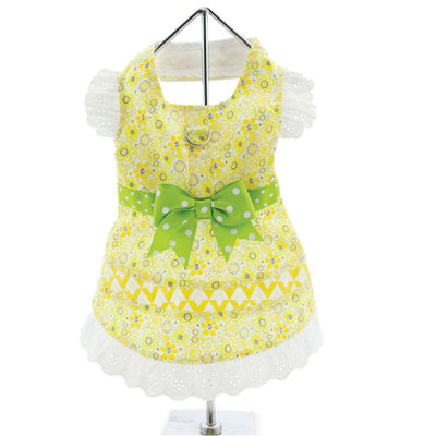 - Emily Yellow Floral & Lace Dog Dress With Matching Leash New Arrival