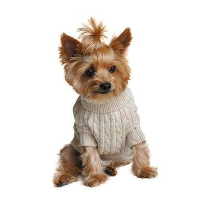 - 100% Pure Combed Cotton Cable Knit Dog Sweater