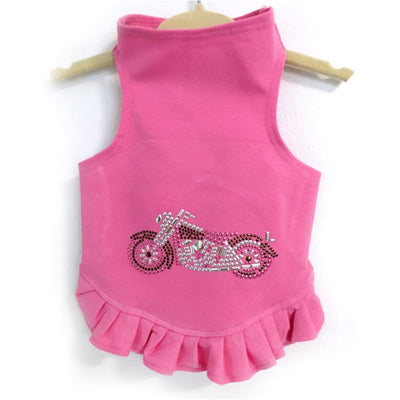 - Studded Motorcycle Dog Flounce Dress Dresses