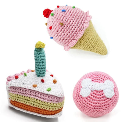 - Pawty Time Crochet Squeaker Dog Toy Collection NEW ARRIVAL