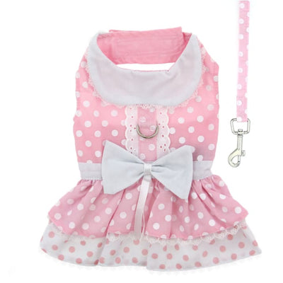 - Pink Polka Dot And Lace Harness Dress With Matching Leash New Arrival