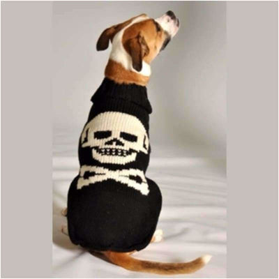 - Black Skull Hand-Knit Wool Dog Sweater Sweaters
