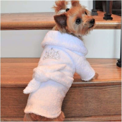 - White & Silver Tierra Terrycloth Dog Bathrobe New Arrival Robes