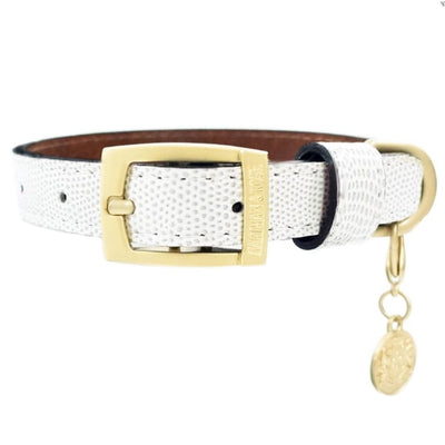 - Park Avenue Italian Leather Dog Collar In Cloud White Hartman & Rose