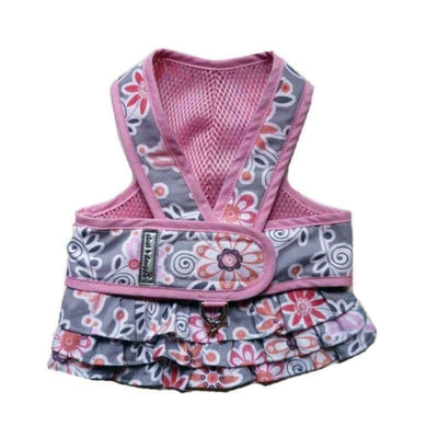 2-Piece Pink Floral Step-N-Go Harness Dress clothes for small dogs, cute dog apparel, cute dog clothes, cute dog dresses, dog apparel