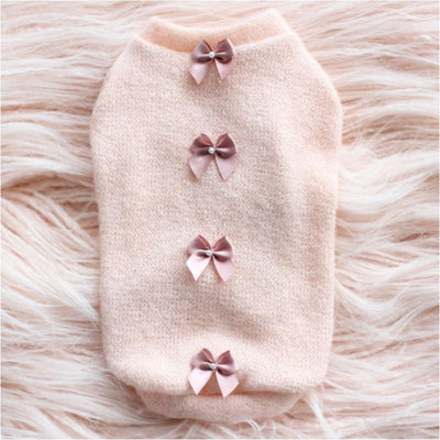 Peach Dainty Bow Dog Sweater NEW ARRIVAL