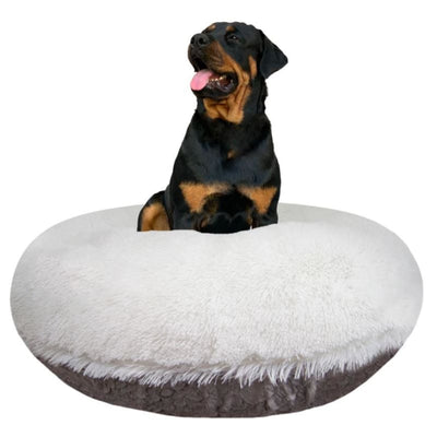 Snow White and Serenity Gray Shag Bagel Bed BAGEL BEDS, bagel beds for dogs, BEDS, BEST SELLER, cute dog beds