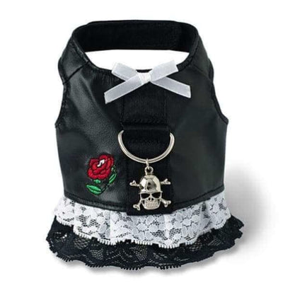 Black Biker Dress with Rose Harness WHOLESALE PET POOCH OUTFITTERS NEW ARRIVAL