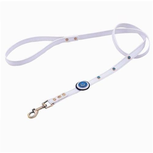 - Happy Campers Circle & Blue Cat Eye Genuine Leather Dog Collar NEW ARRIVAL