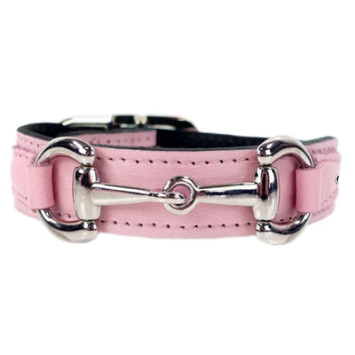 - Belmont Italian Leather Dog Collar In Sweet Pink & Nickel