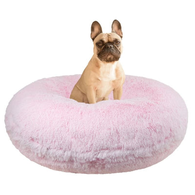 Bubble Gum Shag Bagel Bed bagel beds for dogs, cute dog beds, donut beds for dogs