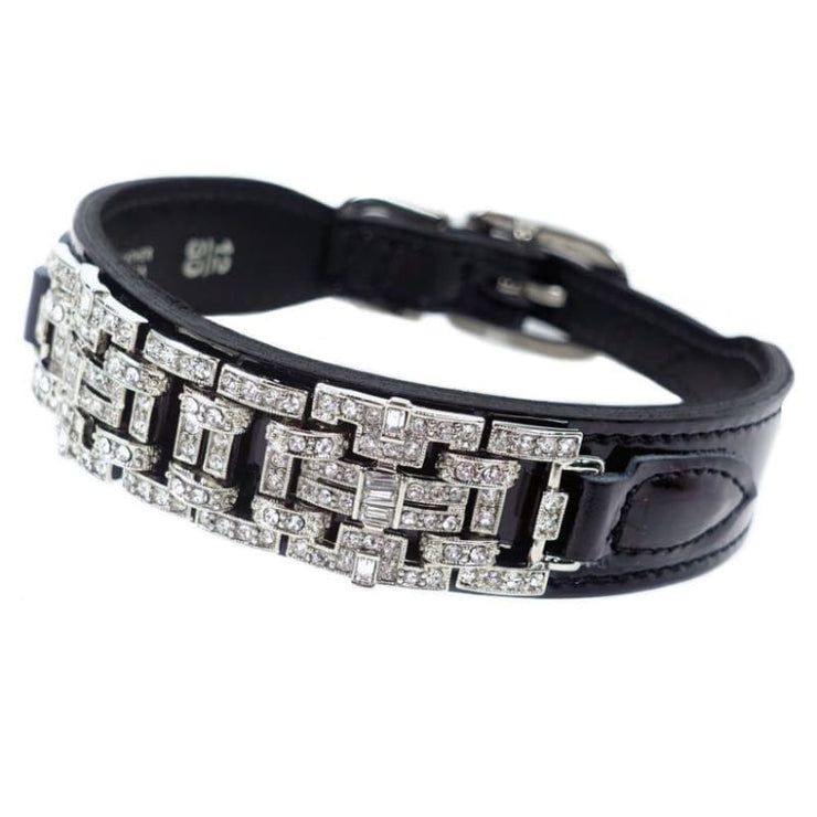 - Haute Couture Art Deco Dog Collar in Black Patent & Nickel genuine leather dog collars HARTMAN & ROSE luxury dog collars