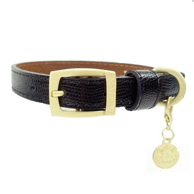 - Park Avenue Italian Leather Dog Collar In Jet Black Hartman & Rose