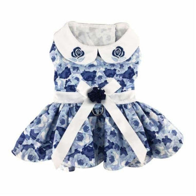 Blue Rose Dress With Matching Leash clothes for small dogs, cute dog apparel, cute dog clothes, cute dog dresses, dog apparel