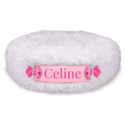 Cream Shag & Puppy Pink Customizable Dog Bed NEW ARRIVAL