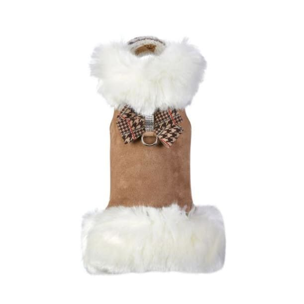 White Fox Fur Coat with Chocolate Glen Houndstooth Nouveau Bow NEW ARRIVAL