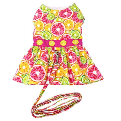 Citrus Slice Dress With Matching Leash clothes for small dogs, cute dog apparel, cute dog clothes, cute dog dresses, dog apparel