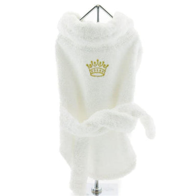 White & Gold Crown Terrycloth Dog Bathrobe boxer shorts for dogs, clothes for small dogs, cute dog apparel, cute dog clothes, dog apparel