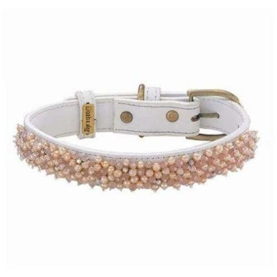 Beaded Fresh Water Pearl & Quartz Genuine Leather Dog Collar bling dog collars, cute dog collar, dog collars, fun dog collars, leather dog