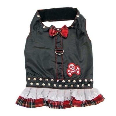 Black Biker & Red Plaid Dress with Harness WHOLESALE PET POOCH OUTFITTERS NEW ARRIVAL